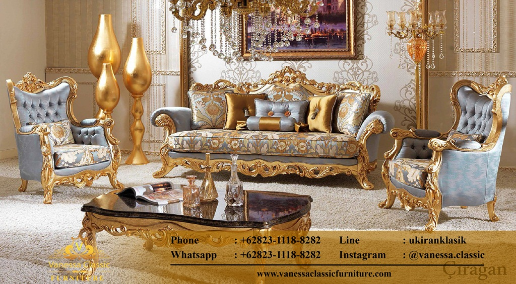 Set Sofa Tamu Warna Emas
