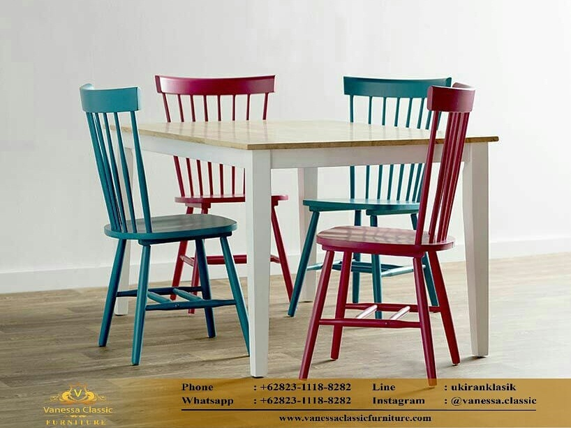 Meja Makan Minimalis Cafe Windsor Chair Vanessa Classic